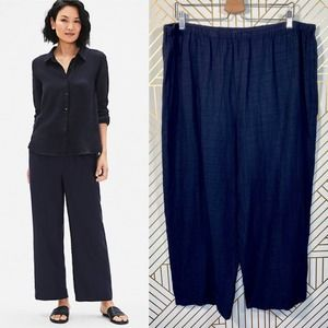 Eileen Fisher Navy Blue Linen Blend Pants